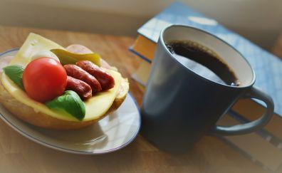 Breakfast, snack, sandwich, coffee