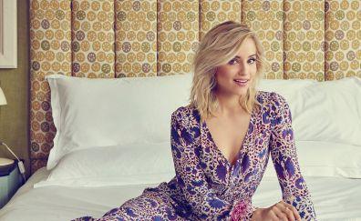 Dianna Agron, blonde, sitting, bed