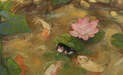 Tsuyu Asui in lake, anime girl