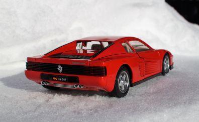 Model car, Ferrari Testarossa car, rear view, toy