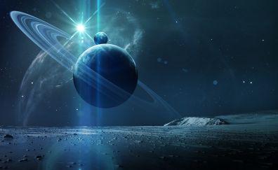 Planets, landscape, space