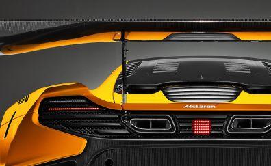 McLaren 650S GT3, rear view, yellow car