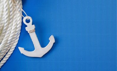 White anchor, rope