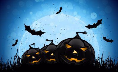 Blue scary night 2016 happy halloween 4k wallpaper