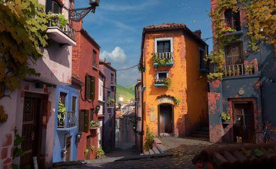 Apartments, town, city, street, art