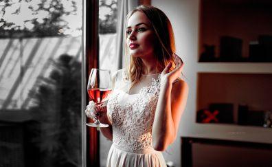 Blonde, girl, drinking red wine, brunette, beautiful