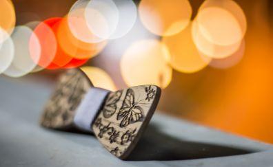 Wooden bow tie, tie, bokeh