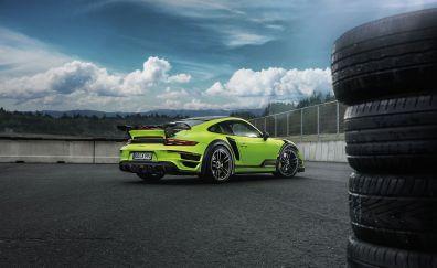 Porsche 911 Turbo, green sports car, tiers