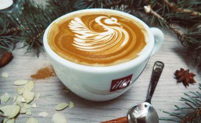 Coffee, cappuccino, cinnamon