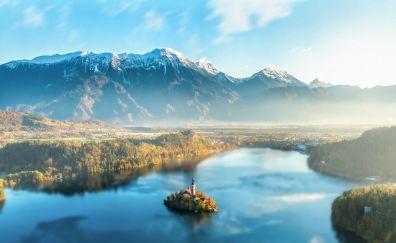 Lake Bled, mountains, Slovenia, nature