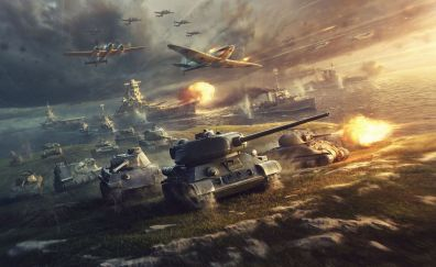 World of Tanks, tanks and fighter aircraft, online game, 4k