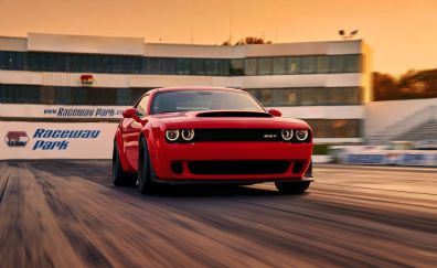 Motion blur, road, Dodge challenger SRT, muscle car