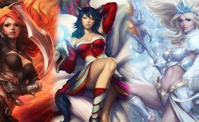 League of legends video game, Ahri, Katarina, girl warriors