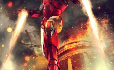 Iron man, fight, firing, artwork, marvel comics