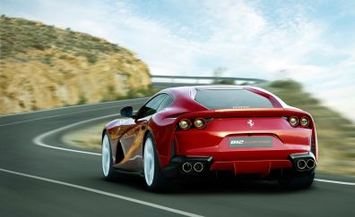 Ferrari 812, sport Superfast, red car, rear view