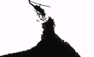 World war z, movie, helicopter, zombies