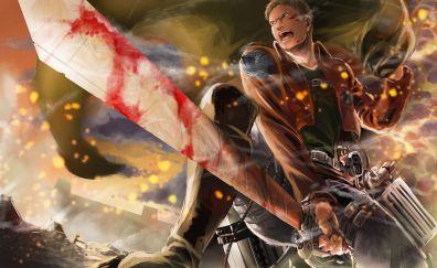 Reiner Braun, Attack on Titan, angry, anime boy
