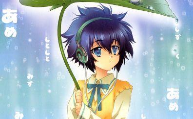 Yatabe Miu, short hair, anime girl, leaf, rain, head phone
