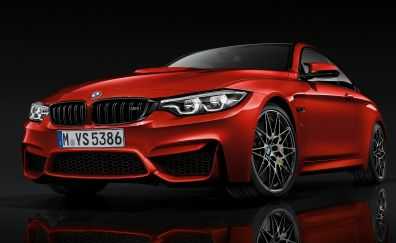 Red luxury car, BMW M4, front view