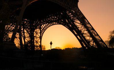 Eiffel Tower, paris, sunset, city