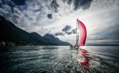 Sailboat, boat, reflections