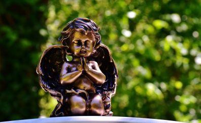 Angel, statue, toy, bokeh