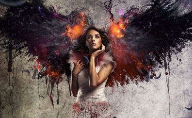 Girl abstract with colorful wings