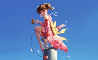 Mumei, Koutetsujou no Kabaneri, anime girl, bare foot