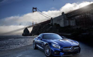 Mercedes-AMG GT car, Brooklyn bridge