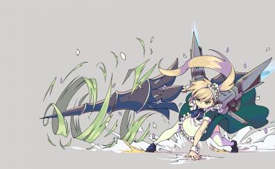 Anime girl in maid dress