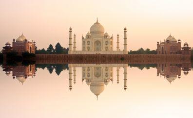 Taj mahal, architecture, reflections, India, 5k