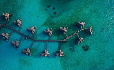 Resorts, huts, beach, aerial view, 4k