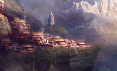 Swordsman Online game, buddha, mountains, village