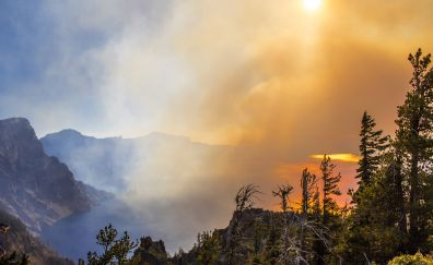 Wildfire smoke over crater lake Oregon nature