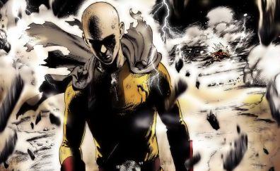 Saitama, one punch man, anime, dark artwork