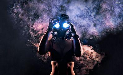 Gas mask of girl