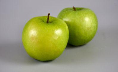 Fruits, green apples, shining