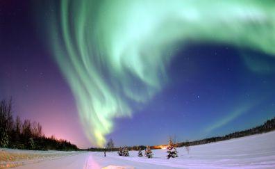 Green Aurora, northern lights of iceland