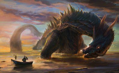Fantasy, Monster, creature, art, fishing