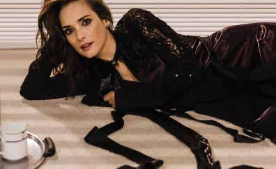 Celebrity, beautiful black dress, Winona Ryder