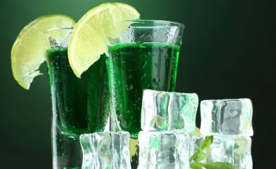 Green cocktail drinks