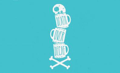 Humor, coffee cup, minimal, skull