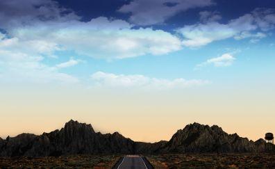 Mountains, road, blue skyline