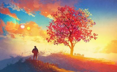 Colorful artwork of tree, landscape