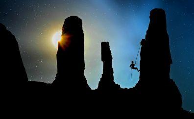 Mountaineering, sunset, mountains, sports