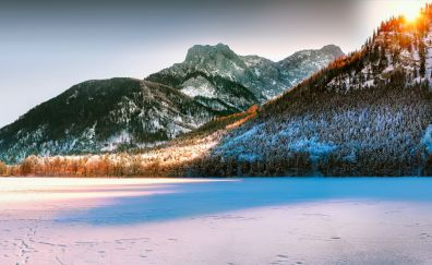 Panorama, mountains, sunrise of Austria