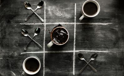 Coffee cup, spoons