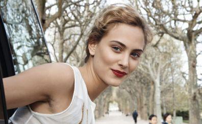 Nora Arnezeder, red lips, smile