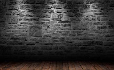 Bricks wall, wooden floor