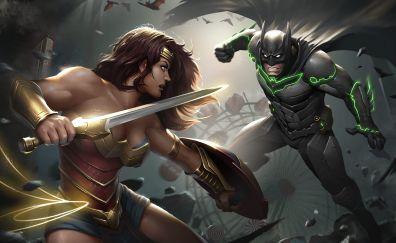 Injustice 2, video game, wonder woman, batman, fight